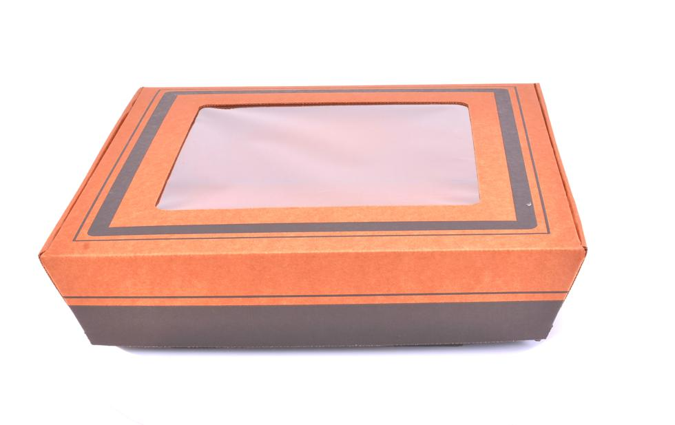 Southern Champion Tray 1185 14 Kraft Corrugated Flared Square Catering Tray with Window Lid Top Dimensions 17 x 17 x 3-3//4 Case of 20